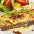 Organic Homemade Grilled Halibut Fish — Stock Photo