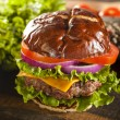 Stock Photo: Gourmet Cheese Burger on Pretzel Roll
