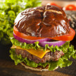 Gourmet Cheese Burger on a Pretzel Roll — Stockfoto