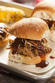 Smoked Barbecue Pulled Pork Sliders — Stock Photo