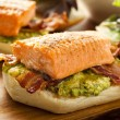 Stock Photo: Grilled Salmon Sandwich with Bacon and Guacamole