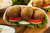 Organic Falafel in a Pita Pocket — Stock Photo