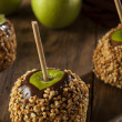 Homemade Caramel Taffy Apple with Peanuts — Stock Photo