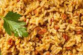 Caseira arroz espanhol com salsa — Foto Stock