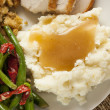 Homemade Organic Mashed Potatoes with Gravy — Stock Photo