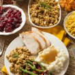 Homemade Turkey Thanksgiving Dinner — Stock Photo #33160369