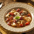 Rustic Homemade Tortellini Soup — Stock Photo