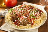 Homemade Spaghetti and Meatballs Pasta — Stock Photo