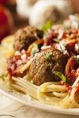 Homemade Spaghetti and Meatballs Pasta — Stock Photo