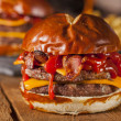 Unhealthy Homemade Barbecue Bacon Cheeseburger — Stock Photo