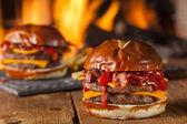 Unhealthy Homemade Barbecue Bacon Cheeseburger — Stock Photo