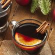 Festive Red Hot Spiced Wine For Christmas — Stock Photo