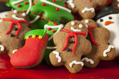 Traditional Iced Gingerbread Christmas Cookies — 图库照片