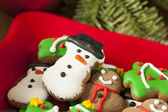 Traditional Iced Gingerbread Christmas Cookies — Stock Photo