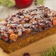 Festive Homemade Holiday Fruitcake — Stock Photo #37451627