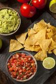 Homemade Pico De Gallo Salsa and Chips — Foto de Stock