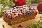 Festive Homemade Holiday Fruitcake — Stock Photo