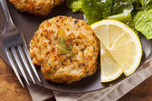 Organic Homemade Crab Cakes — Stock Photo