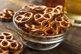 Organic Brown Mini Pretzels with Salt — Stock Photo