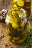 Homemade Organic Crunch Green Pickles — Stock Photo