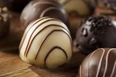 Gourmet Fancy Dark Chocolate Truffle Candy — Stock Photo