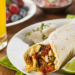 Hearty Chorizo Breakfast Burrito — Stock Photo