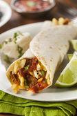 Hearty Chorizo Breakfast Burrito — Stock Photo