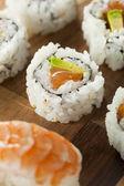 Healthy Japanese Salmon Maki Sushi — Stock Photo