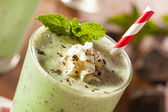 Cold Refreshing Mint Chocolate Chip MilkShake — Stock Photo