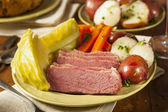 Homemade Corned Beef and Cabbage — Stock Photo
