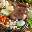Chocolate Easter Bunny in a Basket — Stock Photo #42148793