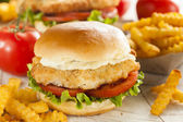 Breaded Fish Sandwich with Tartar Sauce — Stock Photo