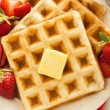 Homemade Belgian Waffles with Fruit — Stock Photo #43324235