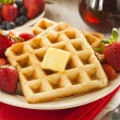 Homemade Belgian Waffles with Fruit — Stock Photo #43324339