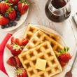 Homemade Belgian Waffles with Fruit — Stock Photo #43324411