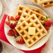Homemade Belgian Waffles with Fruit — Stock Photo #43324419