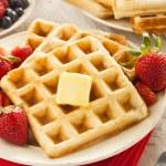 Homemade Belgian Waffles with Fruit — Stock Photo