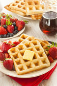 Homemade Belgian Waffles with Fruit — Stock Photo