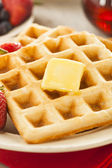 Homemade Belgian Waffles with Fruit — 图库照片