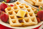 Homemade Belgian Waffles with Fruit — Stockfoto