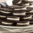 Unhealthy Chocolate Cookies with Cream Filling — Stock Photo #43904155