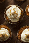 Homemade Carrot Cupcakes with Cream Cheese Frosting — Stock Photo
