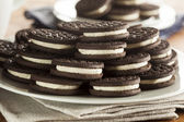 Unhealthy Chocolate Cookies with Cream Filling — Stock Photo