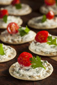 Cracker and Cheese Hors D'oeuvres — Zdjęcie stockowe