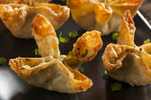 Asian Crab Rangoons with Sweet and Sour Sauce — Stock Photo