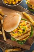 Mahi Fish Sandwich with Salsa — Stock Photo