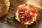 Homemade Bagel and Lox — Stock Photo