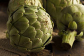 Raw Organic Green Artichokes — Stock Photo
