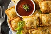 Homemade Fried Ravioli with Marinara Sauce — Stock Photo