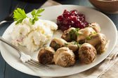 Homemade Swedish Meatballs with Cream Sauce — Stock Photo